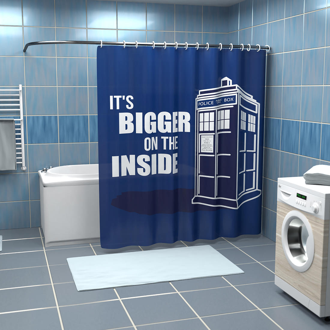 Shower Curtain Police Call Box Getdigital